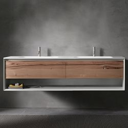 UP ∙ Series 1800 Wall Mount Double Vanity With Open Shelf